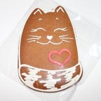 Имбирный пряник  Котик с сердечком 9см