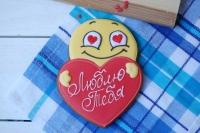 Имбирный пряник Смайлик с сердцем 12 см