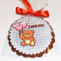 Печенье Мишка с сердечками 10 см