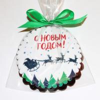 печенье Дед Мороз в санях в небе