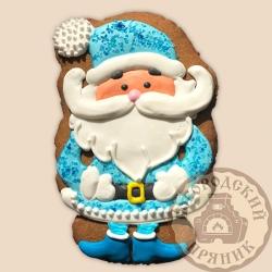 Имбирный пряник Дед мороз в голубом