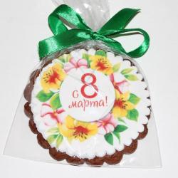 Круглое имбирное печенье С 8 марта-1