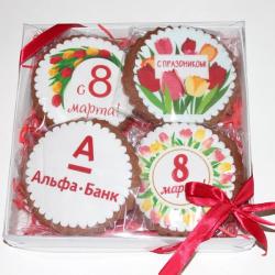 Набор печенья 4шт с логотипом  20*20 см