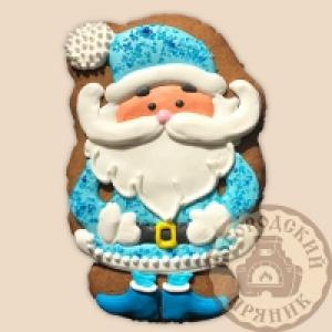 Имбирный пряник Дед мороз в голубом 14см